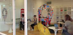 Creative Office Branding using wall graphics from Vinyl Impression Google Pop Up Shop in Soho #Office #Wall #Graphics #branding