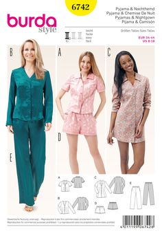 Why not add these sultry makes to your night-time collection? Including a shirt dress and long / short pyjama set. #Burda #sewing #pattern B6742