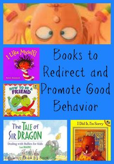Teaching Kids How to Take Care of Books...promoting and redirecting behavior book list..Have you ever had found yourself in a position of redirecting a child's behavior?  We all have those times when our children don't make the best choices. I've found using a story can help engage great conversations about appropriate behavior.  So, today we have a list of books for kids that address poor decision making and some more titles that promote good behavior and help to  build self-esteem.