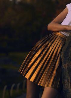 Frida Aasen by Sean & Seng for Numéro #129 #bronze #pleats