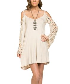 Look at this Mittoshop Stone Lace-Accent Cutout Dress on #zulily today!