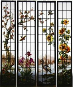 4 vitraux hérons, oiseaux, cerisier et tournesols vers 1900