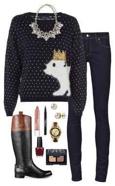 """Polar bear sweater?!?"" by kaley-ii ❤ liked on Polyvore featuring Paige Denim, Tommy Hilfiger, Majorica, Clinique, Trish McEvoy, Sabine, Michael Kors, OPI and NARS Cosmetics"