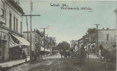 https://flic.kr/p/dwsErj   Portland MI Downtown circa 1908 Businesses CRANE DRUGSDirt Streets Horse & Buggy Era Historical Look Residents Photographer Unk