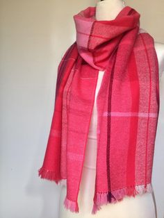 0b24601c9686af Pure cashmere lightweight hand woven scarf Luxury cashmere shawl Unique  design Custom made pink and red blanket scarf Mothers day gift idea