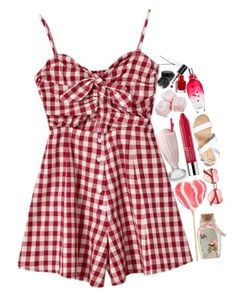 cherry in the air by snotgirrl on Polyvore featuring Chicnova Fashion, New Look, Asha by ADM, ESCADA, Clinique, Bobbi Brown Cosmetics and River Island