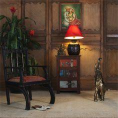 Lampe avec socle pot a lait du Rajasthan (bois et incrustations laiton) et abat jour colore. divers bois dore Lighting, Home Decor, Lantern, Light Fixtures, Candle, Brass, Lights, Interior Design, Home Interior Design