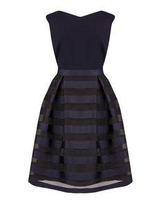 Navy Stripe Organza Dress   Anthea Crawford