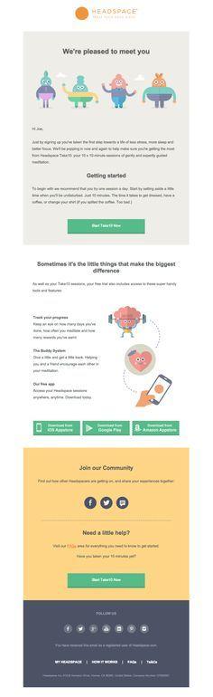 Headspace - welkomstcampagne met informatie voor een goede start