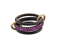 Spinelli Kilcollin - Carina Rose Pink Sapphire and Cognac Diamond Triple Ring in Designers Spinelli Kilcollin Rings at TWISTonline