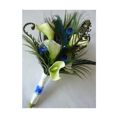 Carli Peacock Bridal Bouquet ❤ liked on Polyvore featuring home, home decor…