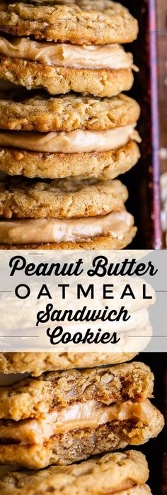 Peanut Butter Oatmeal Sandwich Cookies The softest, most tender peanut butter cookies, sandwiched together with rich peanut butter frosting! These Peanut Butter Oatmeal Sandwich Cookies are a homemade version of the Girl Scout cookies called Do-si-dos. Homemade Peanut Butter Cookies, Peanut Butter Sandwich Cookies, Classic Peanut Butter Cookies, Chocolate Peanut Butter Cookies, Peanut Butter Desserts, Peanut Butter Oatmeal, Chocolate Drizzle, Peanut Recipes, Cookie Sandwiches
