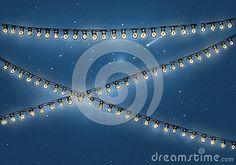 Illustration of a light chain decoration in front of starry sky