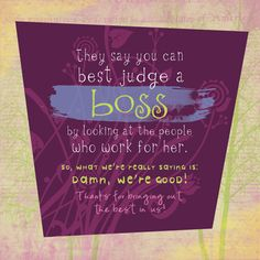 Good morning, dearest blog readers Today is National Bosses Day here in South Africa. I know working for 'The Man' (or woman) isn't always easy, but know that a boss also has diff…