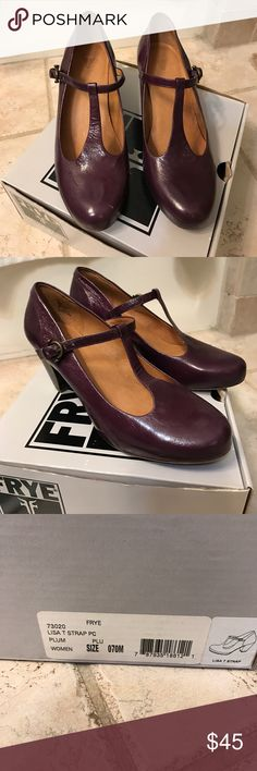 Beautiful plum leather t-strap heels by Frye Frye.  T strap heels in very good condition. Only worn a few times. Tiny scuff on toe of right shoe. See picture. Size 7.  Original box. Frye Shoes Heels