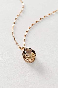 Smoky Quartz Pendant Necklace in 14k Rose Gold - anthropologie.com