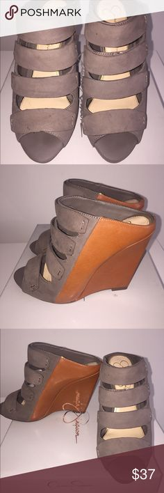 Jessica Simpson Marah Wedges, slip on. Taupe/ cognac Jessica Simpson Marah Sandal Wedges. Slip On. Leather & manmade upper. Worn 3x Jessica Simpson Shoes Wedges