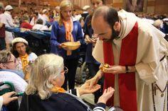 l'onction des malades au pèlerinage du Rosaire,   à Lourdes, 2014