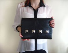 Made to Order Black Faux Leather Studded by inanirsakolurbence, $50.00