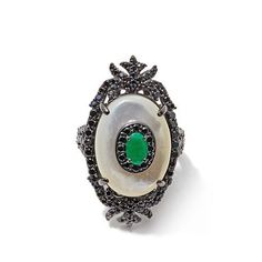 … Rarities Mother-of-Pearl, Emerald and Black Spinel Ring …
