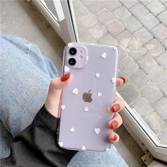 Transparent Polkadot Hearts Cases - White / iPhone 11