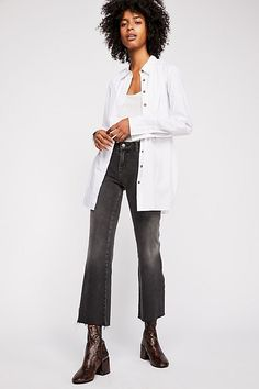Rita Crop Flare Jeans - Black Cropped Flare Denim Jeans Denim Flares 687c59a0ee8f2