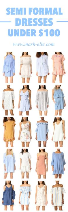 Love them all! | Fashion blogger Mash Elle shares a roundup of 45+ semi formal dresses to wear to many occasions such as a wedding, baby shower, birthday party, Easter celebration, church and more! Featuring aline dresses, maxi dresses, fit and flare dresses, off the shoulder dresses, ruffle dresses, and more!