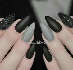 Almond Nails. Gray nails. Black nails. Matte nails. #almondnails
