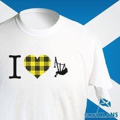 Clan MacLeod Tartan Bagpipes T Shirt