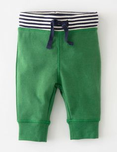 Kelly green baby pants with cuffed bottoms.  I got these for Jack and they're awesome, unless he's in a disposable diaper.  Then they fall down unless I tie the draw string!