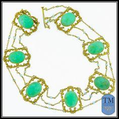 Antique Art Nouveau 14k Gold Chrysoprase & Seed Pearl Festoon Necklace