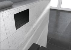 Toilet flush plate for dual-flush system - Aesthetic with the option of flush-mounted installation. The TECEsquare metal emphasises the effect of the pure stainless steel and perfect integration in modern bathroom architecture with its extra-flat design. Flat Interior Design, Flat Design, Flush Toilet, Real Estate Houses, Wood Table, Modern Bathroom, Tile Floor, Minimalism, Home Goods