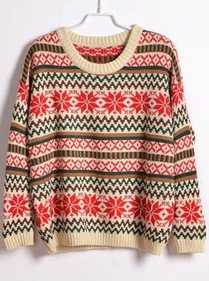 Round Neck Snowflake Sweater Beige$43 http://www.udobuy.com/goods-4552.html#.UimXEdL8m9M