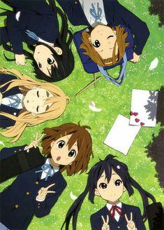 K-On! Hirasawa Yui, Tainaka Ritsu, Akiyama Mio, Kotobuki Tsumugi, and Nakano Azusa K On Anime, Manga Anime, Anime Kawaii, Anime Art, Manga Art, Sad Anime, Anime Demon, Anime Girls, Otaku