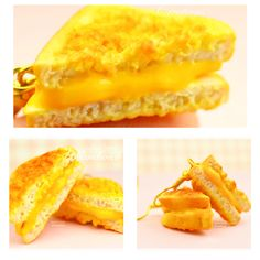 Grilled Cheese Sandwich Earrings Charm Necklace Miniature Food Jewelry Polymer Clay Handmade by Sweet Clay Creations