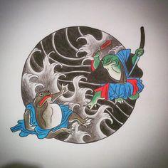 Japanese frogs! #tattoo #japanese #frog #london #draw #waves #samurai…