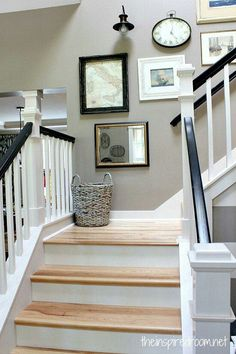Hickory stair treads white risers