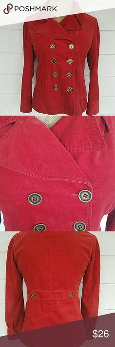 "Brushed Cotton Orange Jacket Modern brunt orange double breasted jacket. Soft 100% brushed cotton with 100% polyester lining - no stretch. Cute pockets and back split.  17.5 -18"" shoulderto shoulder  25.5"" Long (neck  to hem) 21"" Bust Mossimo Supply Co Jackets & Coats"