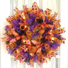 FuNkY HaLlOwEeN Curly Deco Mesh Wreath by SouthernCharmWreaths, $77.00