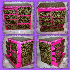 Cartonnage-DIY storage box made out of a Tide laundry soap box and duck tape in pink and leopard. Maybe for makeup,jewelry  or acrylic nail stuff?