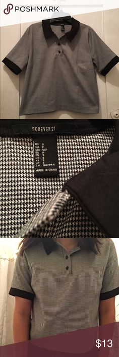 Forever 21 top Size small. Black and white color. Polo shirt inspired Forever 21 Tops