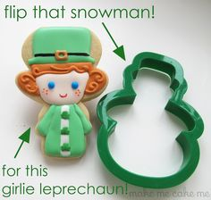 Leprechaun Girl Cookies for St. Patrick's Day. Made with a snowman cutter!   Make Me Cake Me