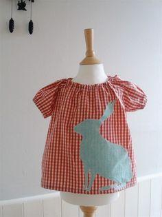 Handmade bingham bunny baby blouse for Easter. Cuteness!