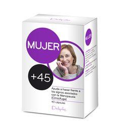MUJER +45 Complemento alimenticio a base de Cimicífuga, Pasiflora, Magnesio y Vitamina B6. Ayuda a hacer frente a los signos asociados con la Menopausia. 40 cápsulas.