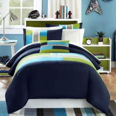Pipeline Full Queen 4 Piece Comforter Set Teen Boy Bedroom Navy Green Light Blue | eBay