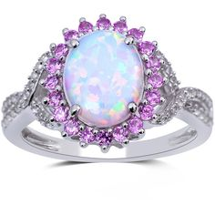 Lab-Created Opal, Pink and White Sapphire Sterling Silver Ring ($100) ❤ liked on Polyvore featuring jewelry, rings, druzy ring, opal ring, sterling silver jewelry, drusy ring and oval engagement rings