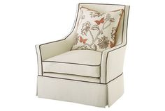 Alcott Linen Swivel Chair, Cream/Brown