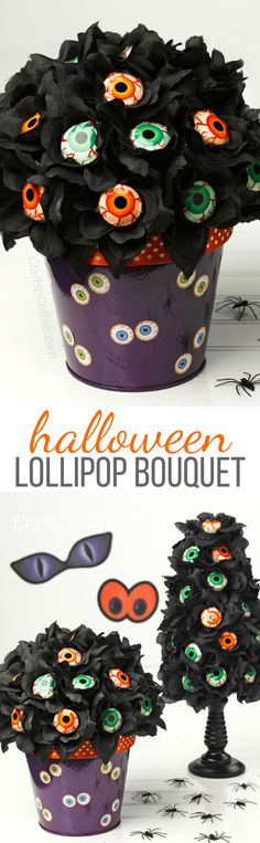 Halloween Lollipop Bouquet Craft Tutorial - fun for Halloween parties!