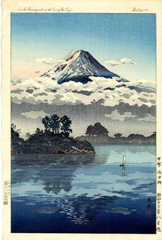 Tsuchiya Koitsu - Lake Kawaguchi at the Foot of Mt Fuji - Japanese woodblock print. Japanese Artwork, Japanese Prints, Japanese Illustration, Illustration Art, Samourai Tattoo, Monte Fuji, Art Occidental, Japanese Woodcut, Japan Painting