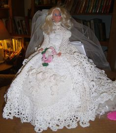 Barbie with Hand Crocheted Wedding Gown #Barbie